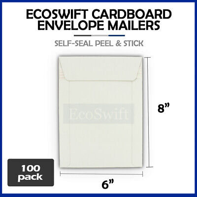 "100 - 6"" x 8"" White CD/DVD Photo Ship Flats Cardboard Envelope Mailer Mailers"