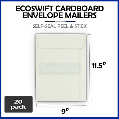 20 - 9 x 11.5 Self Seal White Photo Ship Flats Cardboard Envelope Mailer Mailers
