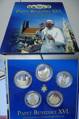 VATIKAN 2006- Kollektion mit 5 Medaillen in Silber/Gold, PP! STATIONEN IN BAYERN