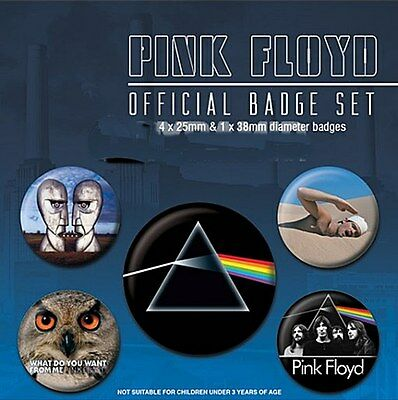 Pink Floyd pack of 5 round pin badges    (py)