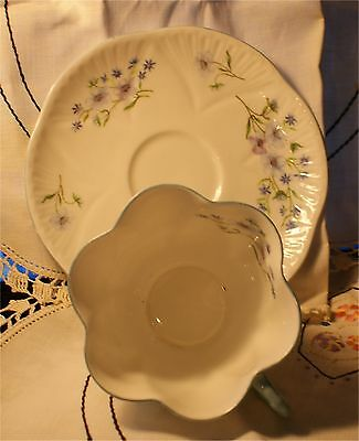 SHELLEY PORCELAIN CUP SAUCER SQUARE  PLATE blue rock pattern