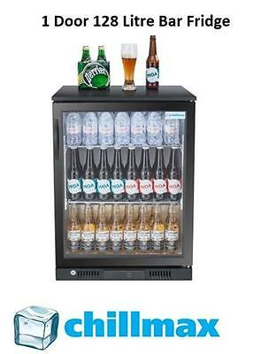 NEW 2016 Chillmax Bar Beer Wine Fridge 1 Door Glass BLACK 128L Under Counter