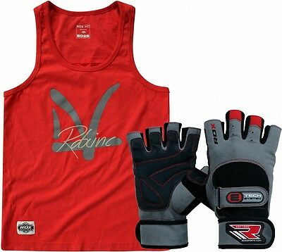 Auth RDX Weight Lifting Body Building Gloves With Mens Workout Vest Gym Training