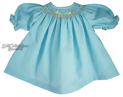 Aqua Hand-Smocked Dress for Bitty Baby Doll Clothes Embroidered Bunnies! Easter!