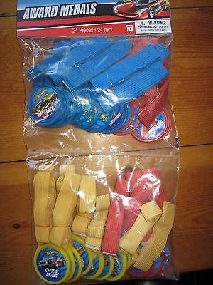 HOT WHEELS RACE CAR WINNER MEDALS 4 STYLES 24 TOTAL BIRTHDAY PARTY FAVOR LOT