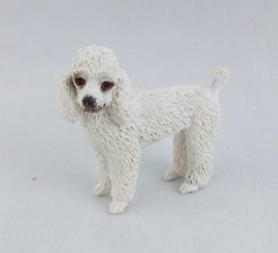 Dolls House Falcon Miniature 1:12 Scale Pet Dog Standing White Poodle