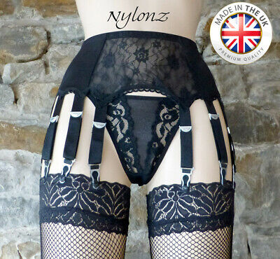 10 Strap Luxury Lace Front Suspender Belt Black (Garter Belt) *FREE SHIPPING*