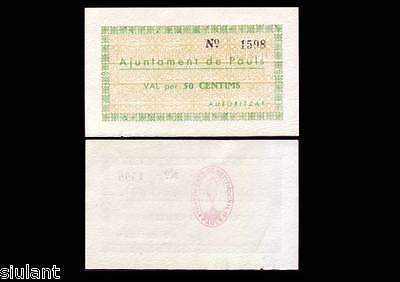 Billete Local - Cataluña. Pauls. Paüls Dels Ports. 50 Cts. Año 1937 - Sc