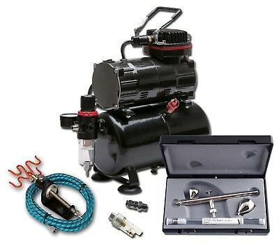 Piston Compressor With 3 Litre Tank + Harder & Steenbeck Ultra 2 In 1 Airbrush