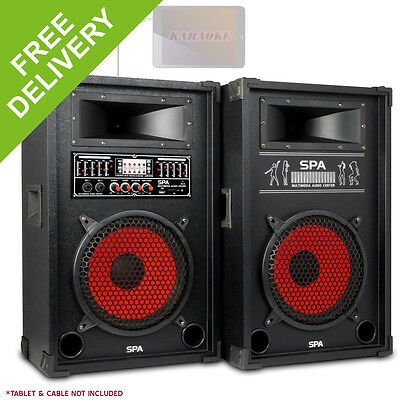 "Skytec SPA1000 10"" Active Speakers Home Party MP3 USB SD Microphone Inputs 800W"