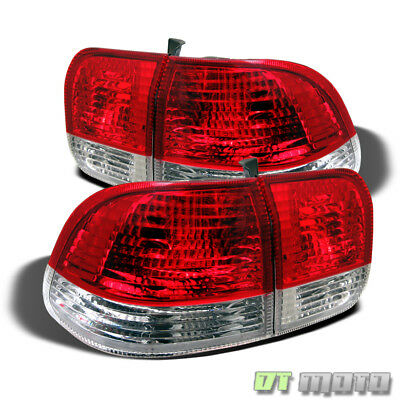 96-98 HONDA CIVIC 4DR SEDAN JDM RED CLEAR TAIL LIGHTS LEFT+RIGHT AFTERMARKET