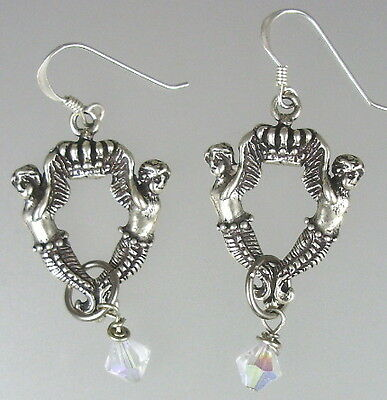 French Antique Style Silver CROWN MERMAID Pierced EARRINGS Swarovski Crystals