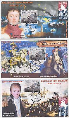 JVC CACHET S- 2015 SET OF 3 BATTLE OF NEW ORLEANS FIRST DAY COVERS FDC's TOPICAL