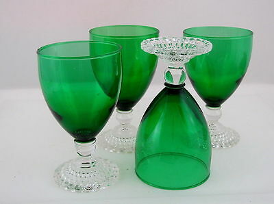 "4 ANCHOR HOCKING FOREST GREEN EARLY AMERICAN GOBLETS, 10 oz, 5 1/2"" tall"