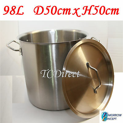 98L Commercial Stainless Steel Stock Pot Saucepan with Lid (D500xH500)