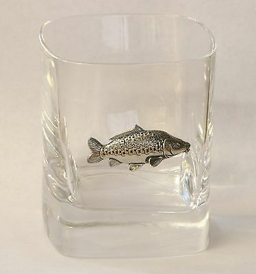 Mirror Carp Pewter Motif Pair of Crystal Tumblers Presentation Box Fishing Gift