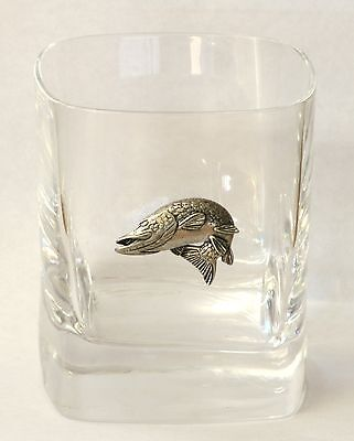 Pike Turning Pewter Motif Pair of Crystal Tumblers Presentation Box Fishing Gift
