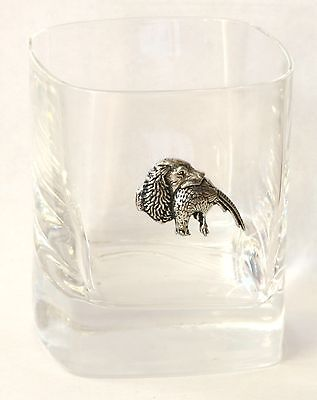 Spaniel and Pheasant Pair of Crystal Tumblers Presentation Box Shooting Gift