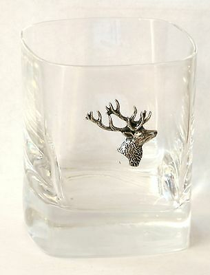 Stag Head Pewter Motif Pair of Crystal Tumblers Presentation Box Hunting Gift
