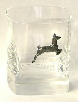 White Tail Deer Pewter Pair of Crystal Tumblers Presentation Box Hunting Gift