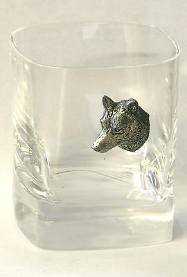 Wolf Head Pewter Motif Pair of Crystal Tumblers Presentation Box Hunting Gift