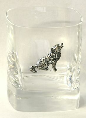Wolf Sitting Pewter Pair of Crystal Tumblers Presentation Box Huntting Gift