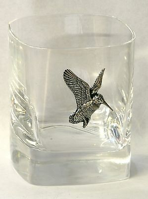 Woodcock Flying Pewter Pair of Crystal Tumblers Presentation Box Shooting Gift
