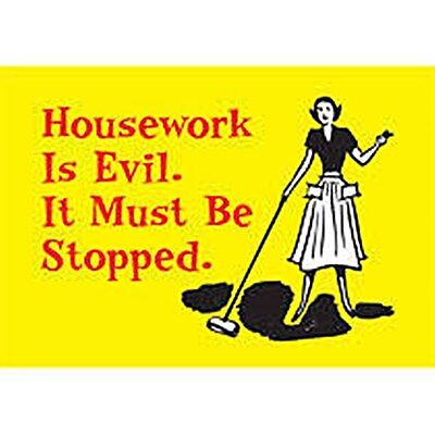 Housework Is Evil (yellow) funny fridge magnet (ep)  REDUCED