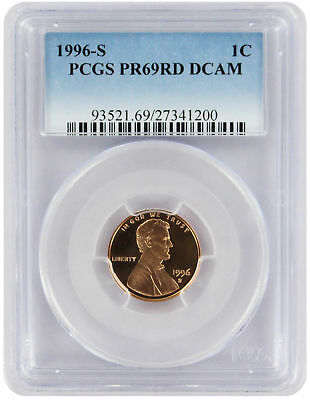 1996-S Lincoln Cent PR69RD DCAM PCGS Proof 69 Red Deep Cameo