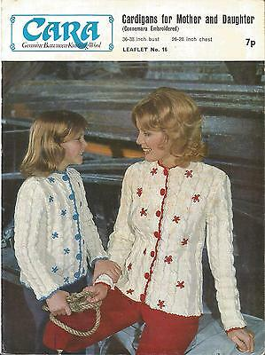 Vintage Knitting Pattern Cardigans For Mother & Daughter Connemara Embroidered