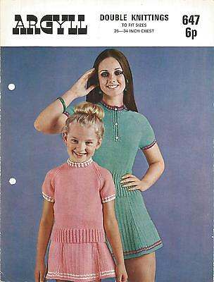 Vintage Knitting Pattern Tot To Teen Sweater And Skirt Set