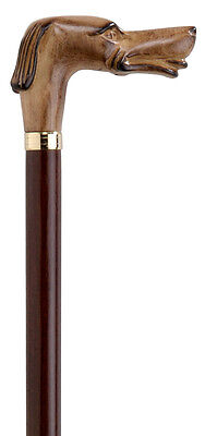 Greyhound Walking Stick Solid Wood Cane Collectable Wooden Carved Animal Dog New