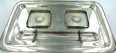 .Super Rare 1904 Tiffany & Co .925 Sterling Silver Large Double Ink Well Tray