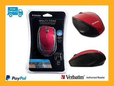 ($0 P&H)Genuine Verbatim Wireless Desktop Optical Ergo Mouse Red Reorder 97592