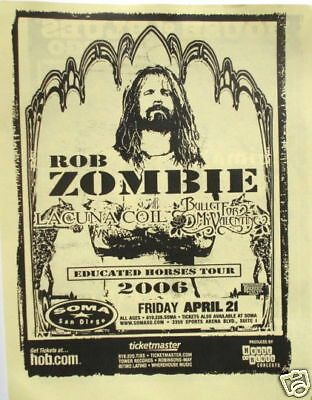 "Rob Zombie / Lacuna Coil 2006 San Diego ""educated Horses Tour"" Concert Poster"