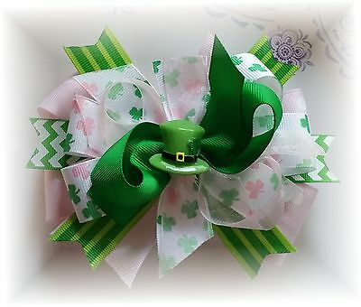 Luck of the Irish St Patrick's Pink Green 5 - 5 1/2 Inch Boutique Hair bow
