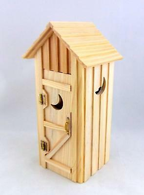 Dolls House Miniature Outside Toilet Shed Outhouse Natural Wood