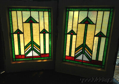 "Pair of Small Prairie Style Stained Glass Windows 21"" by 16"" From Chicago Window"