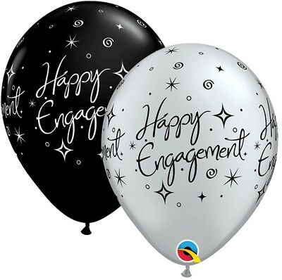 """10 Black / Silver Happy Engagement Helium or Air Balloons Party Decorations 11"""""""