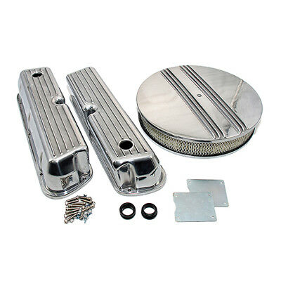 Ford 289 302 351W Finned Retro Aluminum Valve Covers & Half Finned Air Cleaner
