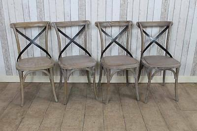 Set Of Four (4) Limed Oak Bentwood Cross Back Gainsborough Chairs Distressed