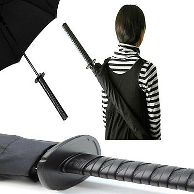 Kikkerland Samurai Sword Umbrella Push Button Opening Shoulder Strap Ninja Gift