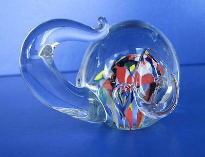 Clear Glass Elephant Head Color Paper Weight Trunk Up Controlled Bubbles VTG