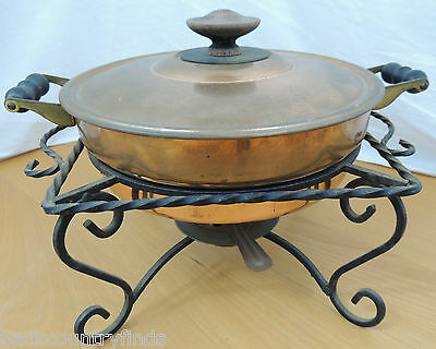 5 Piece Vintage Copper Chafing Skillet Double Boiler With Cast Iron Stand