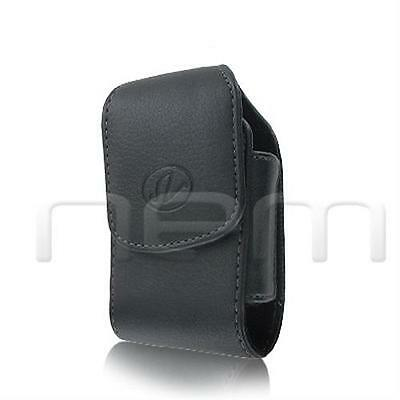 Black Vertical Leather Clip Side Holster Case Pouch For Samsung SGH-A107 A-107