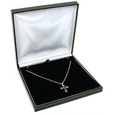 Black Leather Necklace Gift Box Jewelry Display Case New