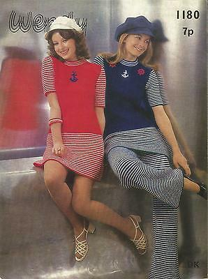 Vintage Knitting Pattern Sailor Dress & Trousers
