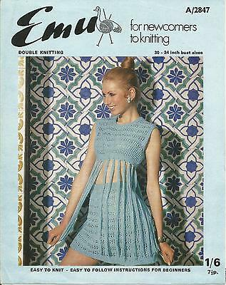 Vintage Knitting Pattern Fringed Crop Top & Mini Skirt, Easy To Knit
