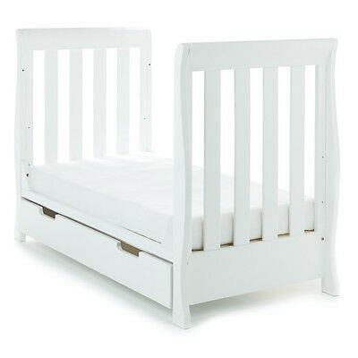 Obaby Lincoln Sleigh Mini Cot Bed with Drawer (White)