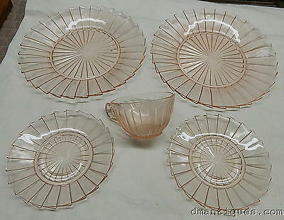 Antique 1930 Elegant Pink Depression Glass 5pc Cup Saucer Plates Sierra Pinwheel